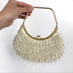 SHAGGEE Vintage Beaded Evening Purse White